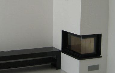 Moderne sisekamin Romotop 65.51 nurgaklasiga kaminasüdamik