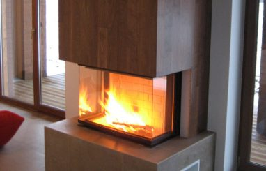 Moderne sisekamin Romotop Heat 81.52 kolmeklaasiga kaminasüdamik