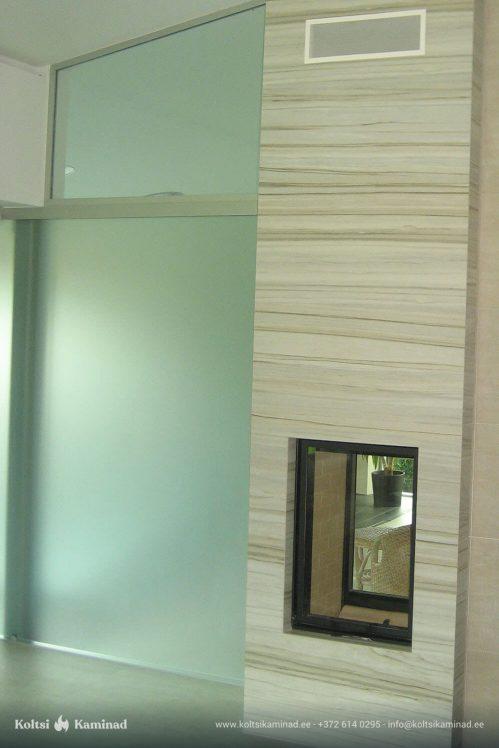 Moderne sisekamin Schmid Lina kahepoolse klaasiga kaminasüdamik