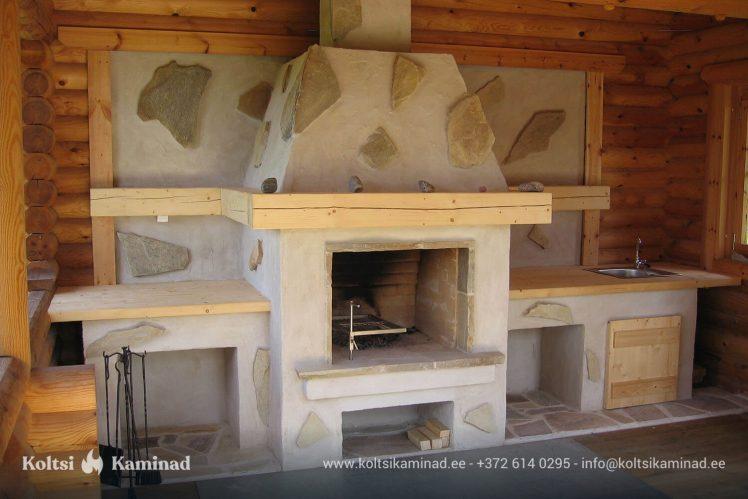 kamin avatud kolle kivi dekoratsioon